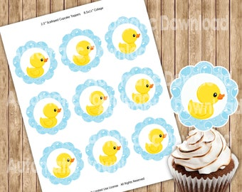 Rubber Duck, Yellow, CupcakeE Toppers, Rubber Duck Toppers, Party Decor, Birthday, Party Kids, Party Birthday, Rubber Duck Stickers