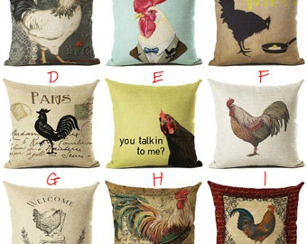 Vintage Rooster Chicken Printed Square Throw Pillow Covers Decorative Pillowcases Chair Pillow