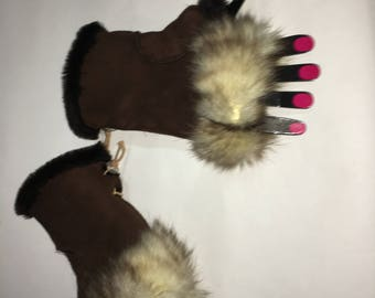 Sheepskin Fingerless brown Gloves with Real Fox Fur One Size