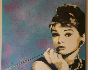 Audrey Hepburn - original spray painting