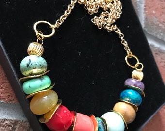 Turquoise chrysoprase Amber Coral Amazonite chrysocolla and amethyst gemstone Rolo chain handmade gold plated necklace.