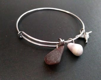 Child's Adjustable Bangle Bracelet with Silver-toned Hummingbird Charm, Small Cone Shell, and Brown Sea Glass