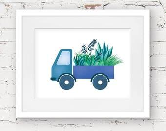 truck art print, truck printable, kids downloadable art, baby boy printable nursery art, kids wall art, jungle printable, boys room decor