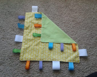 Taggie Blanket - Yellow Anchor with Green Flannel- Lovey Tag Blanket- Ribbon blanket