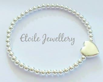 Silver Heart Bracelet, Stretch Bracelet,Ball Bracelet,Heart Jewellery, Stacking Bracelet,Silver Bead Bracelet,Beaded Bracelet