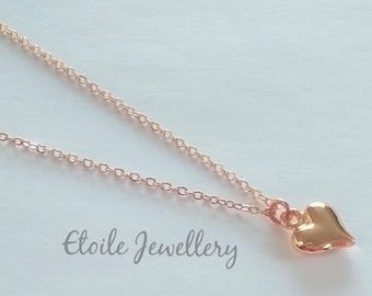 Rose Gold Heart Necklace, Rose Gold Pendant, Rose Gold Chain, Rose Gold Charm, Rise Gold Heart, Gifts for Women