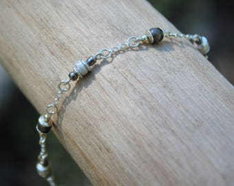 Gunmetal and Sterling Silver Bracelet
