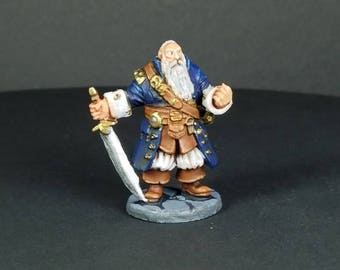 Barnabus Frost, Pirate Captain. Hand painted miniature for your tabletop dungeon and dragons adventure. A reaper bones mini.
