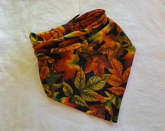 Traditional Tie End Dog Bandana - Reversible Autumn Leaves/Hallowe'en Orange with Owls