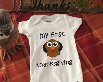 My First...Thanksgiving! | Funny Onesie | Baby Clothes | Baby Sleeper | Holiday Onesie | Baby Onesie | Cute Onesie | Unique Onesies