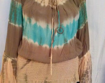 Tie-dye silk long sleeve blouse