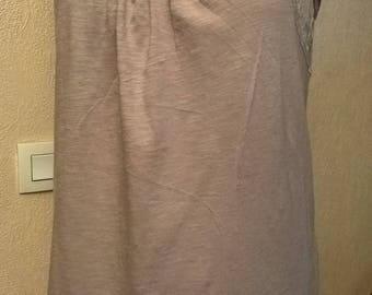 Thin beige mesh long tank top