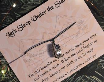 Let's Sleep Under The Stars, Wish Upon Your Wrist, Camper Wish Bracelet, Graduation Gift, Camper Gift, Birthday Gift, Anniversary Gift