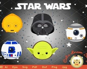 STAR WARS svg, starwars svg, Silhouette Cricut Cameo, svg Files, tsum tsum darth vader svg,  yoda svg, disney svg, tsum tsum star wars AI