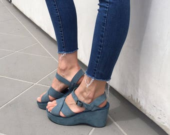 90's Blue Suede Wedges