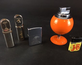 Lot vintage lighters and advertising - J & B Marlboro Kent zippo spherical 70s