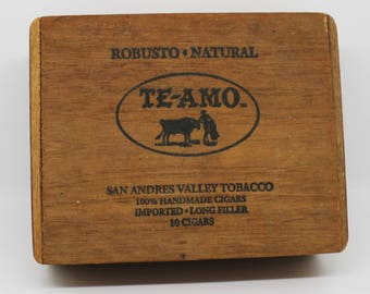 Vintage TE AMO Hand Made Cigar Box from Mexico