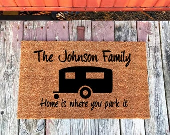 Family Camper Personalized Name Doormat, Camping Doormat, Camper Doormat, Camping Gift,