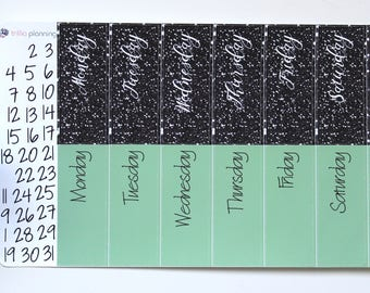Big Happy Planner Date Covers - Black/Green
