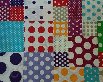 Patchwork Polka Dot Spot 100% cotton fabric 60 inch / 150cm