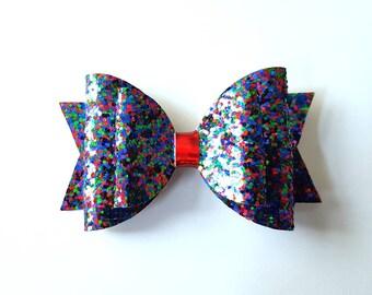 sparkle glitter hair bow - girls hair clip - red green blue hair accessory