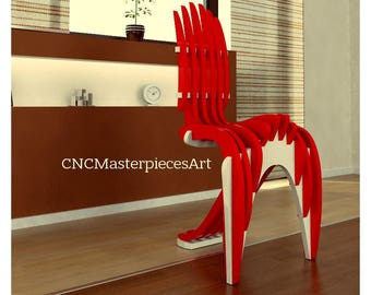 Original designer chair, chair for home and office made of plywood. Vector drawing for production on a laser CNC machine.