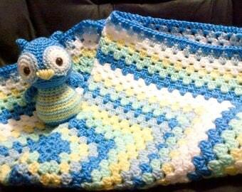 Matching Crochet Baby Blanket & Owl Plush Toy