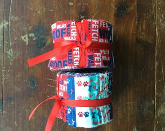 Dog theme jelly roll fabric