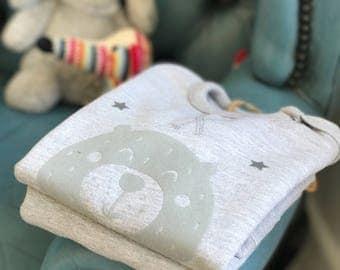 Personalised teddy bear baby - toddler grey sweatshirt