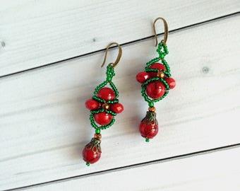Red Green  earrings Gift for woman  Beadwork  earrings Earrings gift Long earrings Elegant earrings Crystal earrings Christmas jewelry