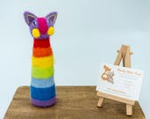 Needle felted rainbow cat...