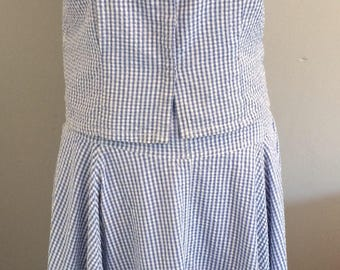 Vintage gingham skirt and sleeveless blouse.