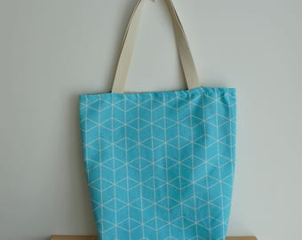 "Blue cotton tote, double-sided cotton bag, 15.7"" x 11.7"", 40 x 36 cm, shopping, market bag, library bag,"