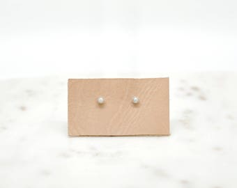 Dainty Pearl Sterling Silver Earrings-dainty earrings-silver earrings-bridal earrings-modern earrings