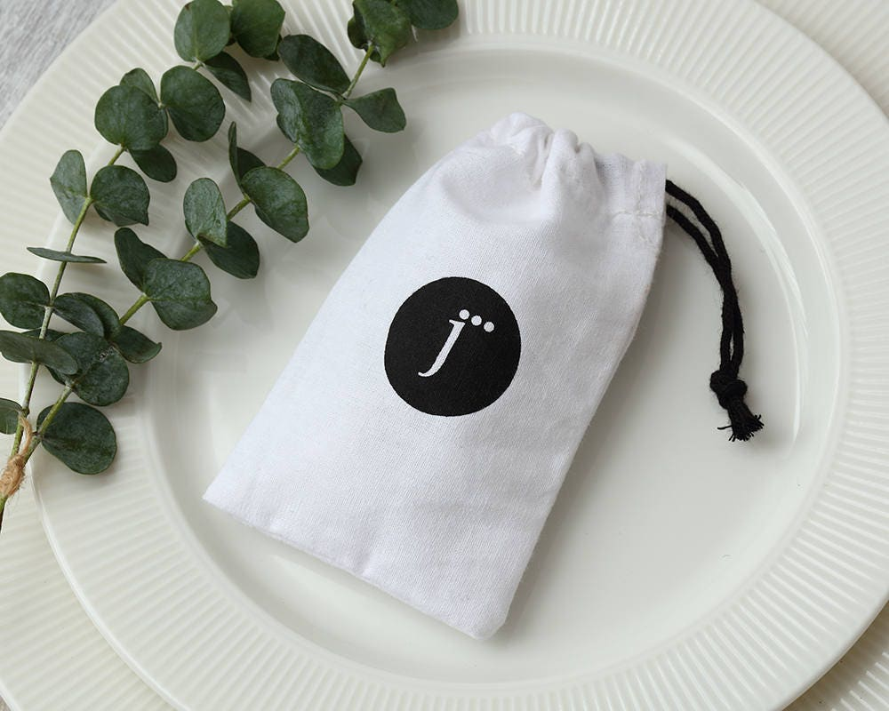 50 white cotton muslin bags with your logo print drawstring pouches ...