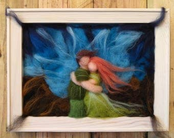 The Lovers - waldorf inspired , needle felted wool art in wooden frame