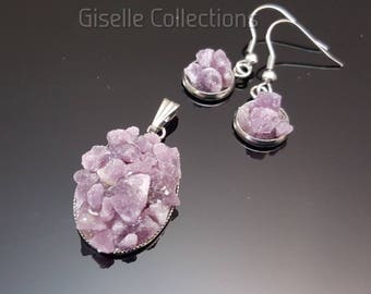 Lepidolite Gemstone crushed necklace and earrings, Stainless steel Hypoallergenic earrings, Libra birthstone, Gifts for her, Under 20
