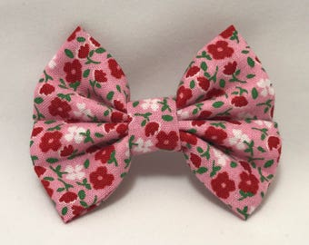Red & Pink Floral - Fabric Barrette Bow