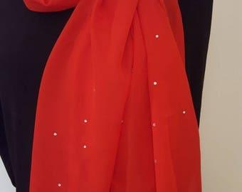 Ladies Glamour Swarovski adorned scarf & scarf clip-gift boxed- Scarlet