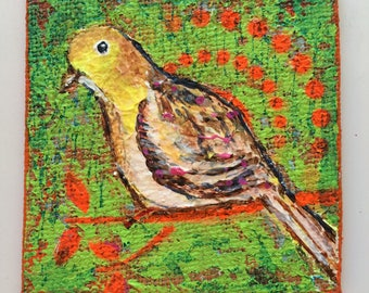 Birdie is an acrylic painting on burlap canvas
