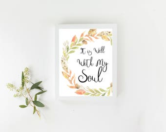Printable Wall Art, Christian, Decor, It is well, Dorm, Girl Room, Living Room, Instant Download, Trending Now, Print Gypsy