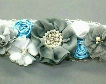 Gray White Maternity Sash/Gray Aqua Maternity Sash/Mommy to be Belt/Flower Sash/Belly Sash/Maternity Flower Belt