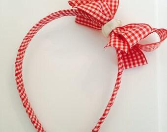 Gingham Bow Hairband & Bow Hair clip set
