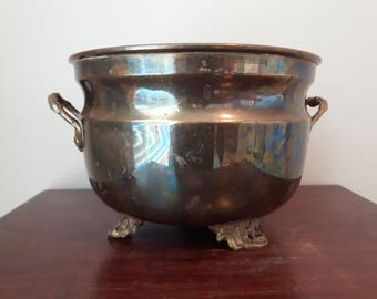 Vintage Brass Bowl, Planter, Brass Pedestal, Made in India, Great patina and detail