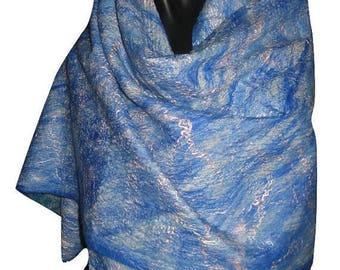Wool Scarf Felted Scarf Merino Felt Scarf Nuno Felt Scarf Felt Silk Scarf Unique Scarf Silk Scarf Nuno Felt Scarves Felted 2 - in -1