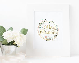 Christmas Prints, Christmas decoration, Christmas printable wall art, christmas wreath print, christmas present, christmas gift download, c1