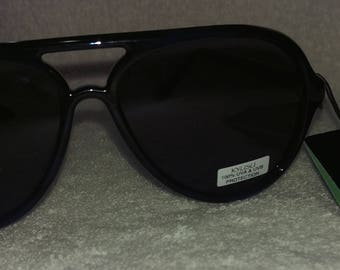 New Retro Vintage KYUSU Women's Sunglasses Blue / Black Frames New Old Stock 100% UVA UVB Protection