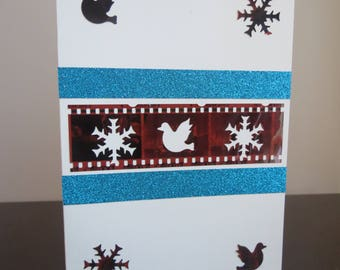 Film negatives Holiday /Christmas cards,  PEACE & POSITIVITY, VERY unique, repurposed