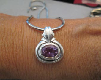 Beautiful Sterling Silver & Genuine Amethyst Pendant>> Vintage 1980's, new old stock, never worn>> Small and Dainty!