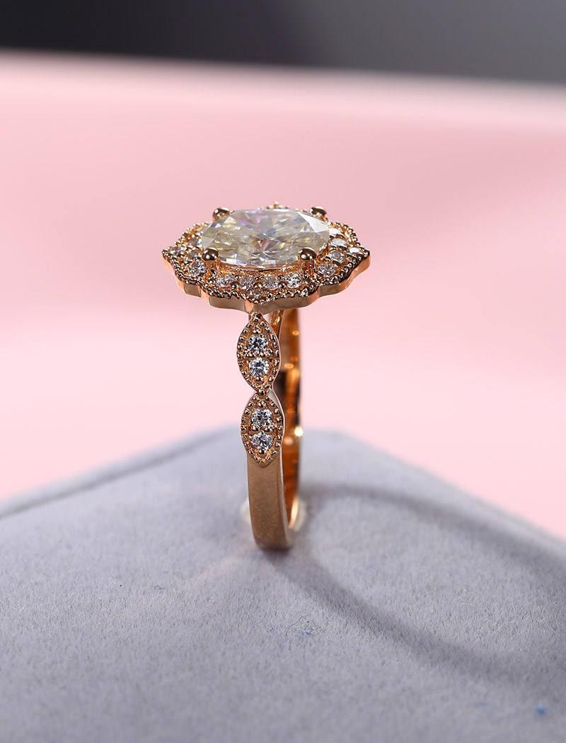 Moissanite engagement ring set Rose gold Vintage engagement ring ...